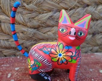 Alebrije Oaxaca Mexican Folk Art Hand Painted Woodcarving Cat