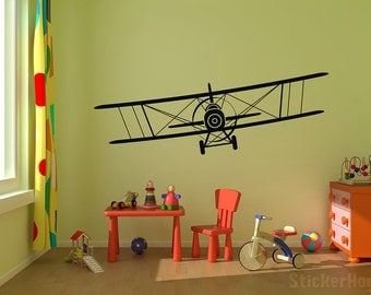 "Biplane Vinyl Decal Airplane Wall Decal Graphics Choose Color Children Boys Bedroom Decor Gift from 24""x8"" up to 68""x20"""
