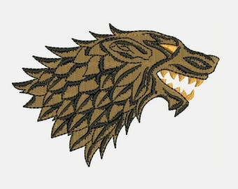 House Stark - DIREWOLF Machine Embroidery Designs - Instant Download Filled Stitches Embroidery Design 281