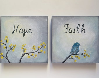Original art, acrylic painting, hope painting, grey and yellow, Blue bird painting, canvas painting, set of 3, neutral wall art