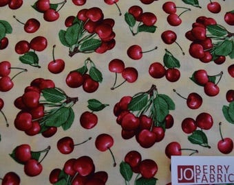 Cherries from the Berry Good Collection by Elizabeth Studio.  Quilt or Craft Fabric, Fabric by the Yard.