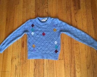 Sheer vintage diamond acrylic sweater