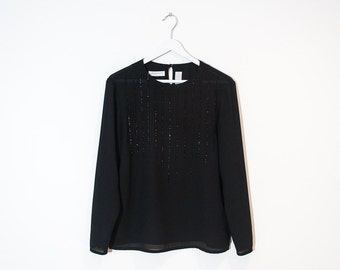 on sale - sheer black beaded blouse / sparkly long sleeve top / size S / M