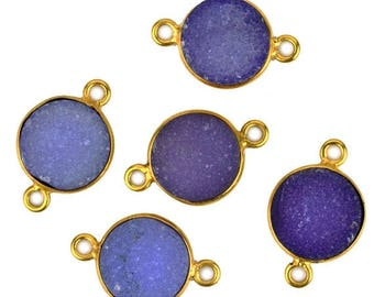 30% OFF Purple Color Druzy, Bezel Round Shape Connector, 10mm Round 24K Gold Plated, Double Bail 1pc. (Pcz-11155)