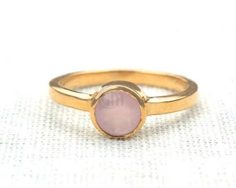 45% OFF Rose chalcedony single stone ring, 6mm round gemstone ring, gold plated solitaire ring (GPRC-12007)