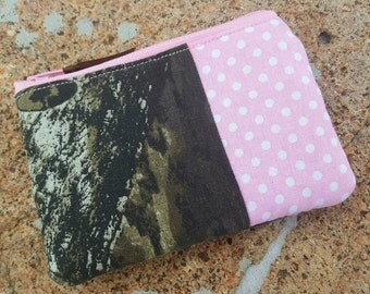 Pink Camo Coin Purse, Zipper Pouch