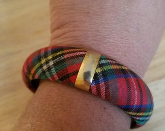 Beautiful Vintage Colorful Fabric Plaid Bangle Bracelet