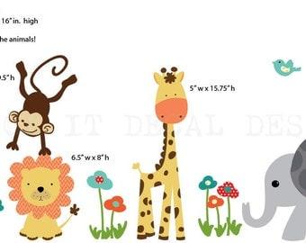Safari Wall Decal, Nursery Wall Decal, Mini Decal, Giraffe Decal, Jungle Animal wall decal, monkey decal, Standard Jungle Design