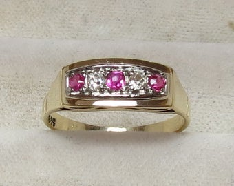 Vintage 14K Ruby and Diamond Ladies Ring