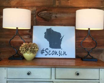 Wisconsin pride |  State Pride | #sconsin | hand painted sign | home decor | gift | farmhouse chic | birthday christmas new home gift