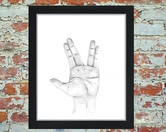 ASL Art, Sign Language Art, Watercolor Painting, Watercolor Print, Trekkie, Alphabet, ASL, Sign Language, Star Trek, Spock, Spock Hand, Gift