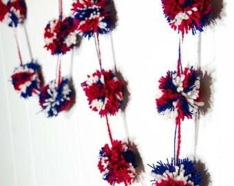 "Patriotic Pom Pom Garland   (17)  3 inch Pom Poms   -  Red White and Blue Pom Pom Banner 4th of July Garland - Party Garland 80"""