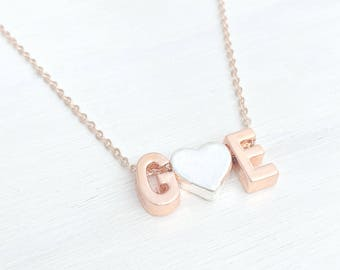 Initial Necklace, Letter Necklace, Rose Gold Necklace, Rose Gold Jewelry, Bridesmaid Gifts, Birthday Gifts, Layering Necklace, UK Shop