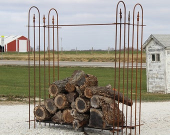 Wrought Iron Rustic Firewood Storage Rack - We Customize the SIZE