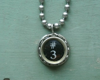 "Typewriter Number 3 Necklace- Vintage, Recycled UPcycled, Authentic, Number ""3"" Typewriter Key, 2-9 and A-Z available By UPcycled Works!!"