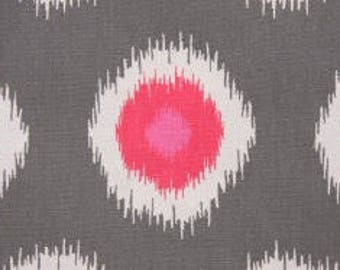 Handmade Table Runner 13W x 27L in Grey and Pink Ikat 100% Cotton, On Sale