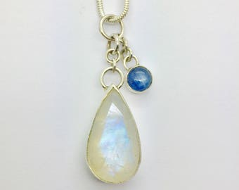 Moonstone Pendant, Moonstone Necklace, Moonstone and Kyanite pendant, Moonstone Jewelry