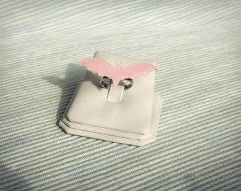 Glitter pink bat ring