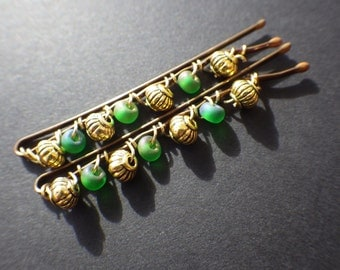 Green and Gold- Wire Wrapped- Beaded Bobby Pins- Hair Style- Fashion Accessory- Unique Gift Idea for Teen Girls and Women