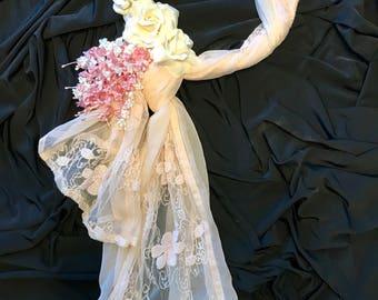Romantic Floral & Lace Wreath