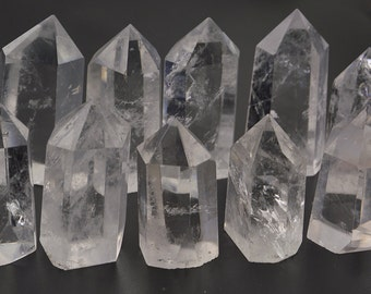Natural Rock Quartz  Crystal Wand Terminated Point 6 Sided Prism Point Healing