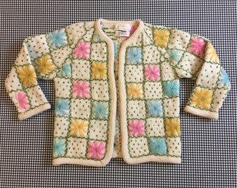 1960's, semi-cropped, 3/4 sleeve, no close, wool, cardigan, in off white, with pastel flowers, Women's size Small