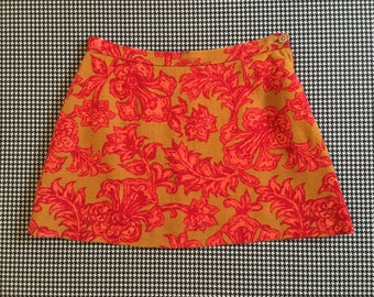 1960's, A-line, super mini-skirt, in okra burlap, with red and orange floral print, Women's size Small