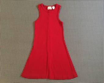 1990's, rib knit, tank dress, in red, Women's size XS
