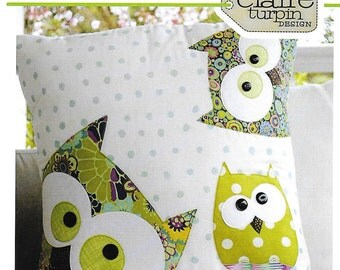 Pattern - Family of Owls - Applique Pillow, Cushion by Claire Turpin Design (CT001) Paper Pattern Instructions Scan'nCut