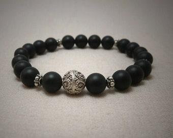 Matte onyx and Bali sterling silver bead bracelet