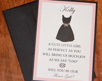 Will You Be Our Flower Girl Card with Envelope ~ Personalized Bridal Party Card