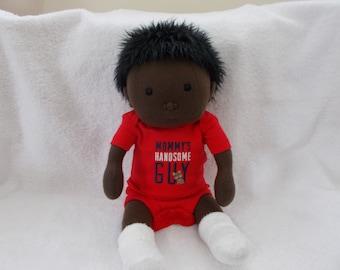 "16"" Baby Boy Cloth handmade Doll Waldorf Inspired Mongolian Hair soft sculpted Toddler stuffed plush Sculpture Christmas Easter toy Newborn"