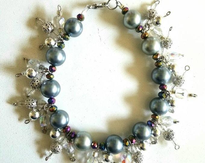Grey Black Silver Crystal Bead Cluster Bracelet