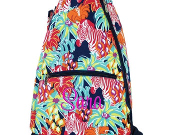 Personalized Tennis Racquet Backpack   Tennis Racquet Bag   Monogram Tennis Backpack   Tennis Racquet Case   Zebra Flower Tennis Racquet Bag