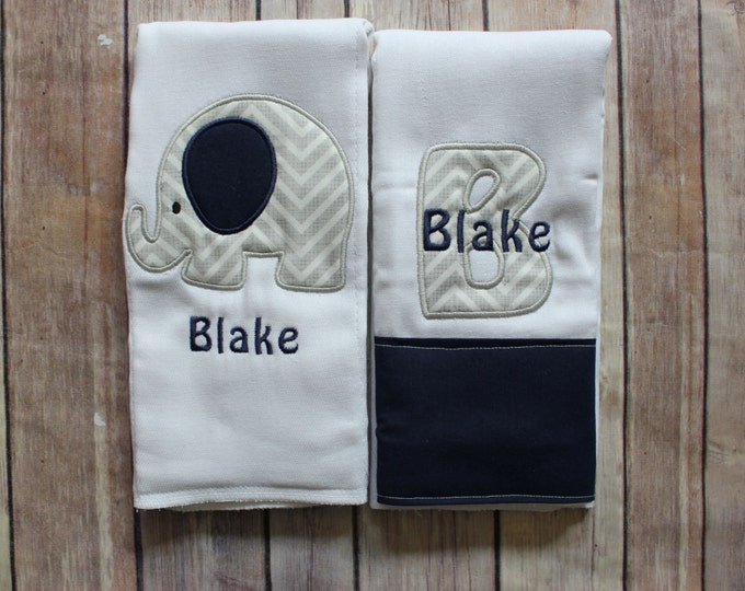 Personalized Baby Boy Elephant Burp Cloth Set, New Baby Gift, Baby Shower Gift, Elephant Baby, Monogrammed Personalized Boy Elephant