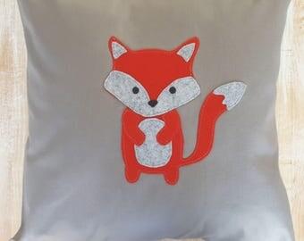 Fox Pillow, nursery pillow,Cabin pillow, Neutral Fox pillows, Woodland Pillows, Grey,Red,stitched felt,Personalized pillow,Boy pillow cover