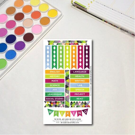 Student High School Planner Sticker Sheet, The Ones for Students - Subjects, Erin Condren, Happy Planner, Traveler's Notebook