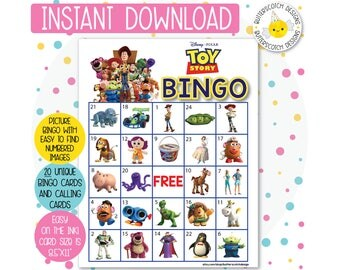 Toy Story Printable Bingo Cards (20 Different Cards) - Instant Download