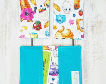 Card Holder Wallet, Credit Card Case, Gift Card or Business Cards, Shopkins with Two Fabric Pockets