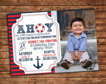 Nautical Birthday Invitation, Anchor, Sailor, Navy and Red, Ahoy, Lifesaver, Stripes, Digital Printable, Announcements, Party Supplies