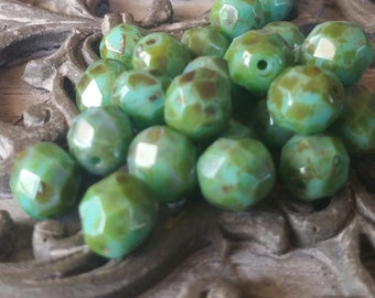 8mm Turquoise Green/ Blue Picasso Fire Polished Glass Beads, qty. 10pcs