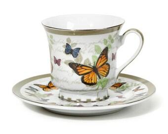 Fairy Garden Tea Cup Planter - Butterfly Theme Fairy Garden Accessories Fairy Home Miniature House Fairy Garden House Fairy Tea Party