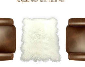 Plush Faux Fur Area Rug - 6 Colors and  Sizes- New Cottage Square Sheepskin - Designer Throw Rug - Art Rugs by Fur Accents - USA