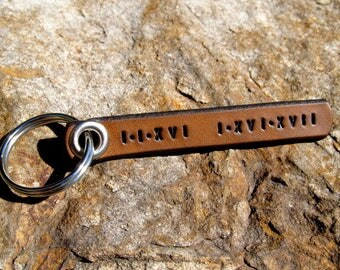 Roman Numeral Leather Keychain Save The Date Latitude Longitude Custom Coordinates Personalized Couples Gift 3rd Anniversary Gift Mens Women