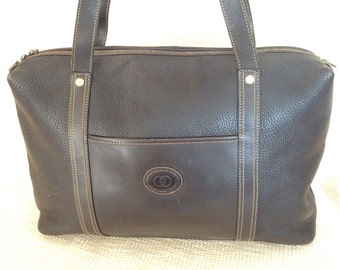 Vintage GUCCI black leather shopping tote bag carryall