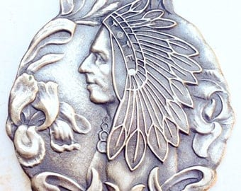 Antique Sterling silver Fob native american Chief Portrait stamped New York pocket watch fob pendant cast metal unisex  americanna large. LA