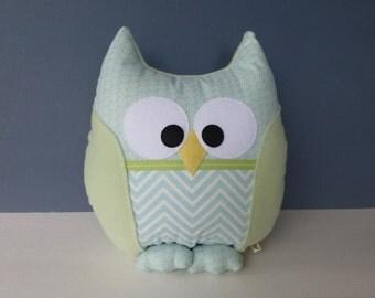 Owl Pillow - Sage Green & Light Blue