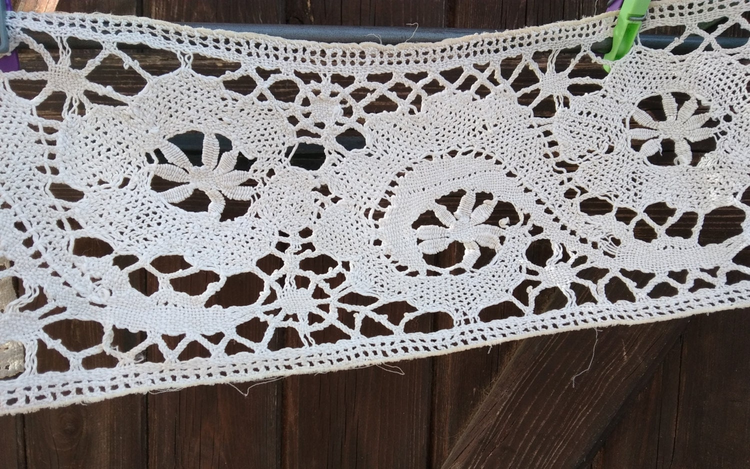 Victorian home decor crocheted lace long wide off white for Lace home decor