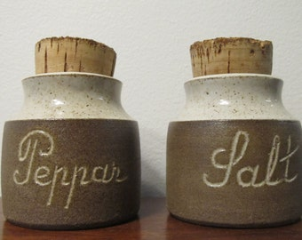 Selsbo Keramik Sweden 60's Salt & Pepper Jars with Cork Stoppers