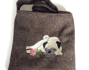 Brown Fleck Wool Embroidered Pug Over The Shoulder Bag - Lined and with internal pocket - Made in Great Britain